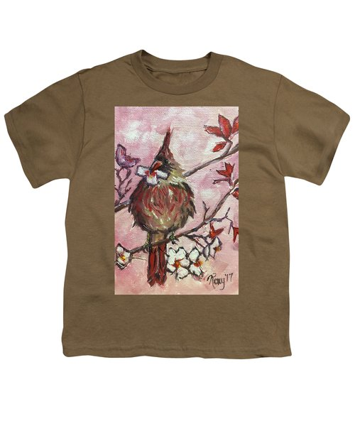 Cardinal With A Cherry Blossom Youth T-Shirt