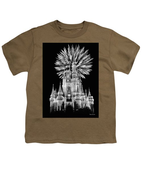 Castle With Fireworks In Black And White Walt Disney World Mp Youth T-Shirt