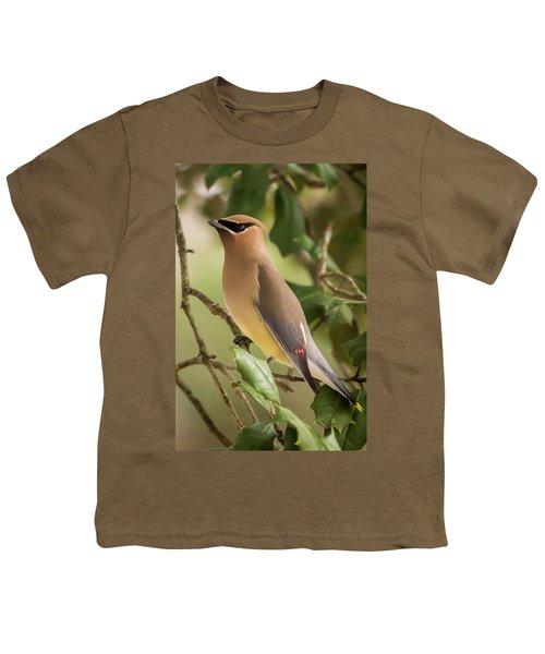 Cedar Waxwing Portrait Youth T-Shirt