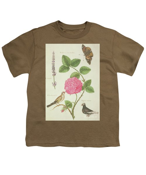 Centifolia Rose, Lavender, Tortoiseshell Butterfly, Goldfinch And Crested Pigeon Youth T-Shirt by Nicolas Robert