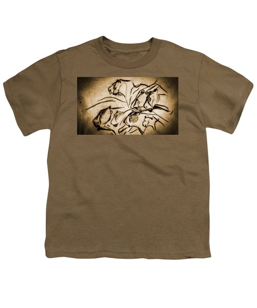 Chauvet Cave Lions Burned Leather Youth T-Shirt