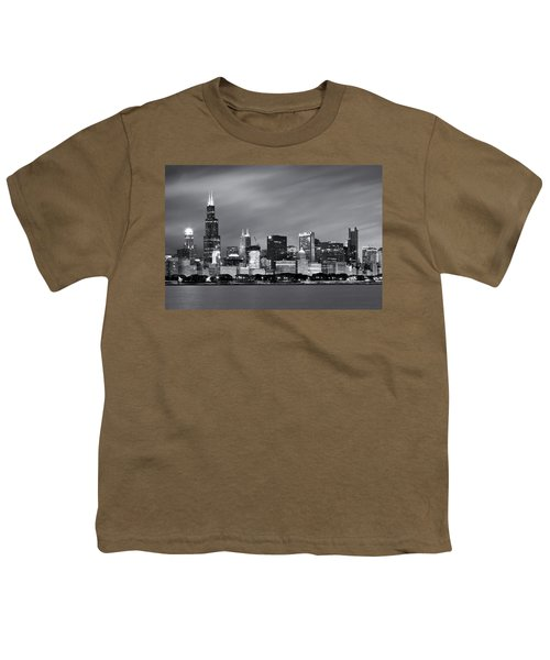 Youth T-Shirt featuring the photograph Chicago Skyline At Night Black And White  by Adam Romanowicz