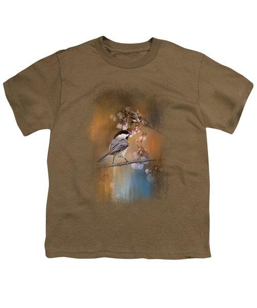 Chickadee In The Garden Youth T-Shirt by Jai Johnson