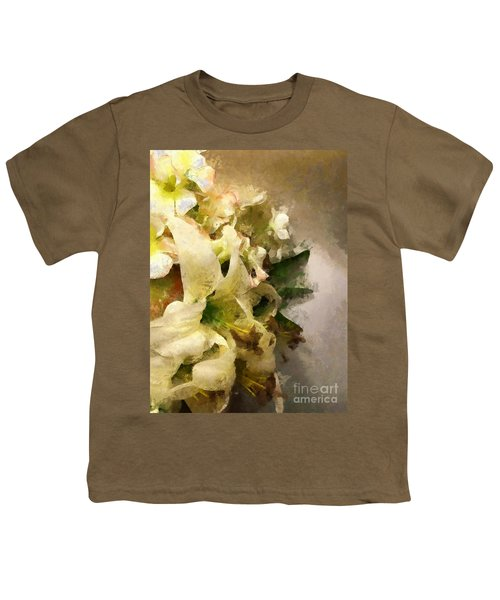 Christmas White Flowers Youth T-Shirt