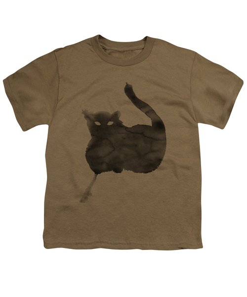 Youth T-Shirt featuring the painting Cloudy Cat by Marc Philippe Joly