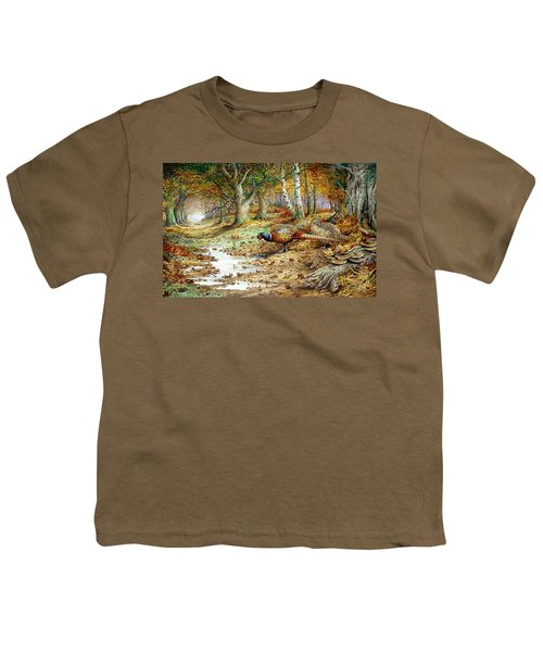 Cock Pheasant And Sulphur Tuft Fungi Youth T-Shirt