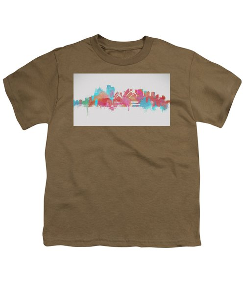 Colorful Sydney Skyline Silhouette Youth T-Shirt by Dan Sproul