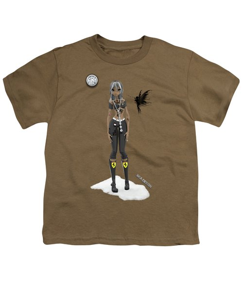 Cool 3d Manga  Girl With Bling And Tattoos In Black Youth T-Shirt