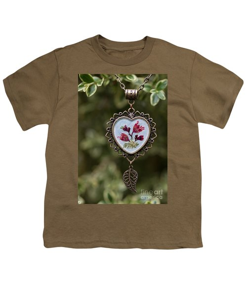 Coral Bell Pressed Flower Pendant Youth T-Shirt