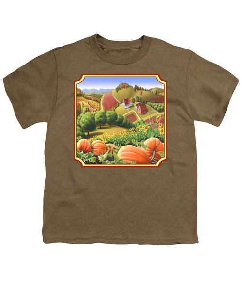 Country Landscape - Appalachian Pumpkin Patch - Country Farm Life - Square Format Youth T-Shirt