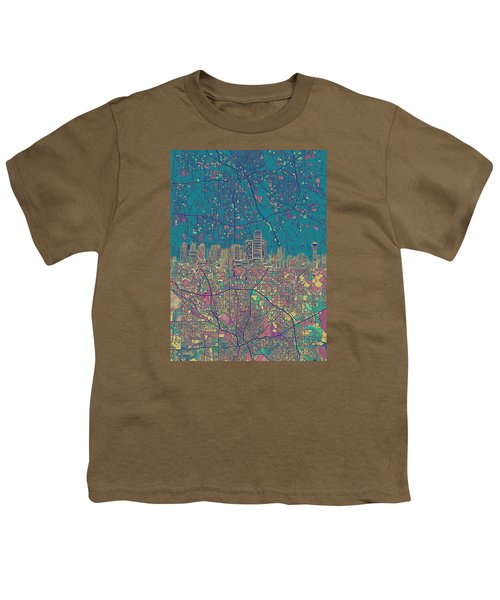 Dallas Skyline Map Green Youth T-Shirt