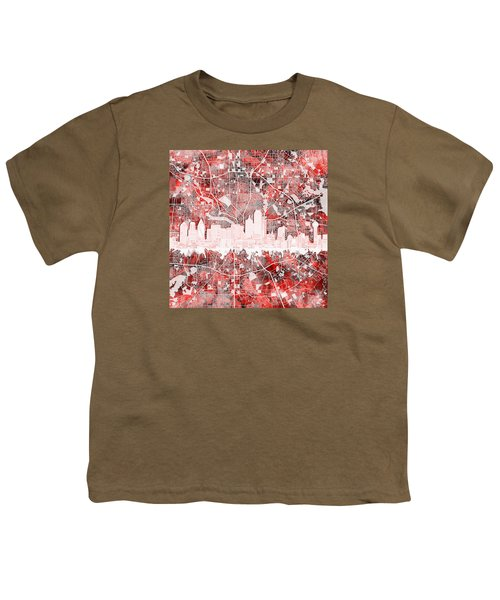 Dallas Skyline Map Red 2 Youth T-Shirt