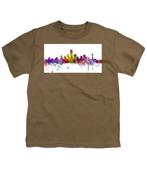 Dallas Texas Skyline Panoramic Youth T-Shirt