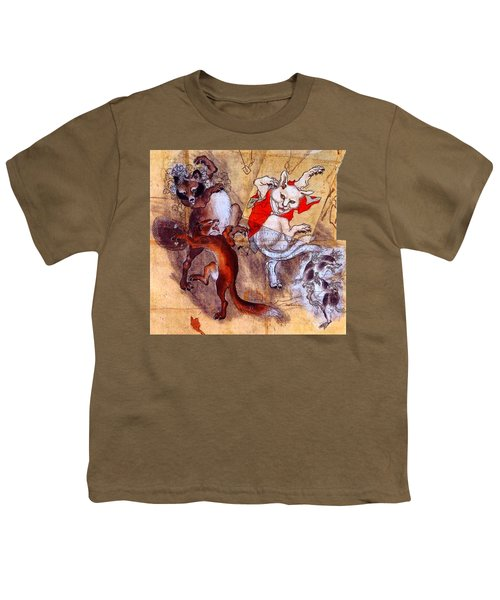 Japanese Meiji Period Dancing Feral Cat With Wild Animal Friends Youth T-Shirt by Peter Gumaer Ogden Collection