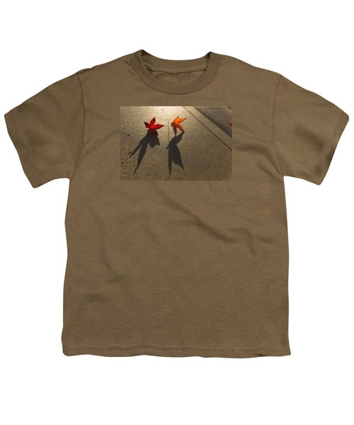Youth T-Shirt featuring the photograph Dancing Leaves by Lora Lee Chapman
