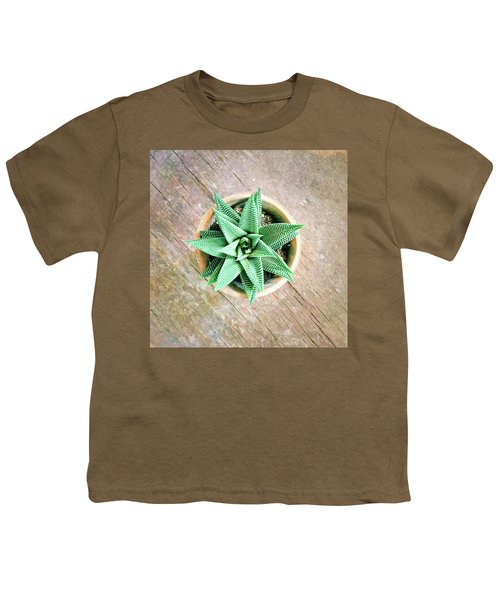 Decorative Aloe Plant On Old Wooden Surface Youth T-Shirt