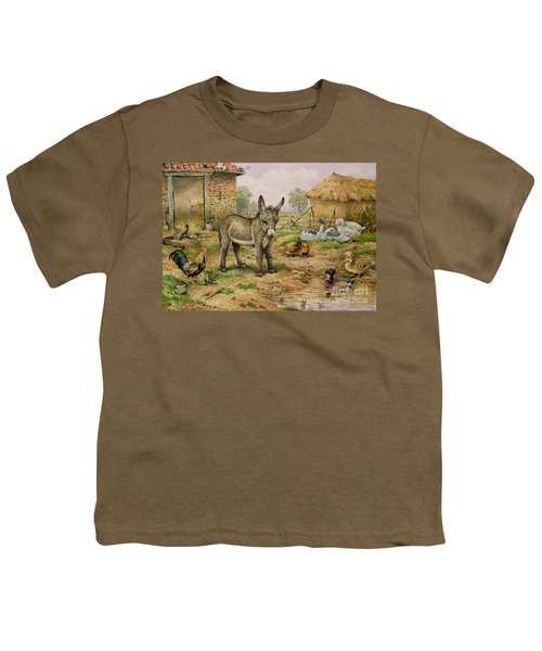 Donkey And Farmyard Fowl  Youth T-Shirt by Carl Donner