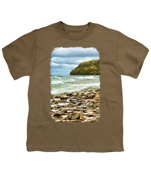 Door County Porcupine Bay Waves Youth T-Shirt by Christopher Arndt