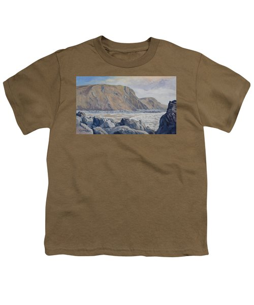 Youth T-Shirt featuring the painting Duckpool Boulders by Lawrence Dyer