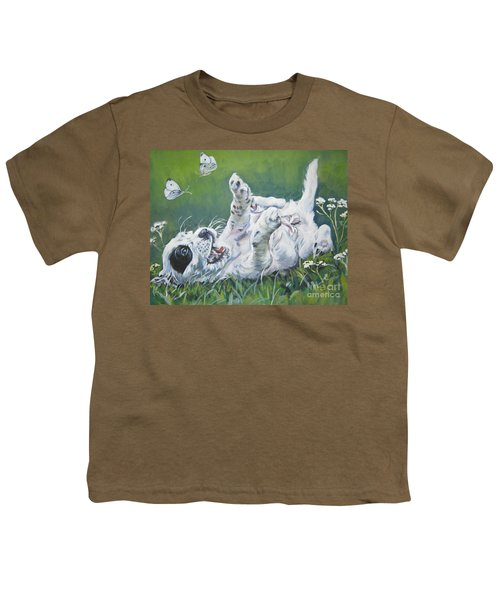 English Setter Puppy And Butterflies Youth T-Shirt