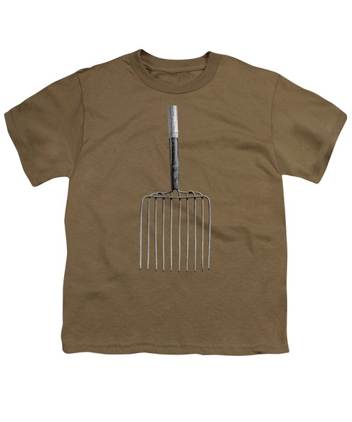 Ensilage Fork Up On Plywood In Bw 66 Youth T-Shirt