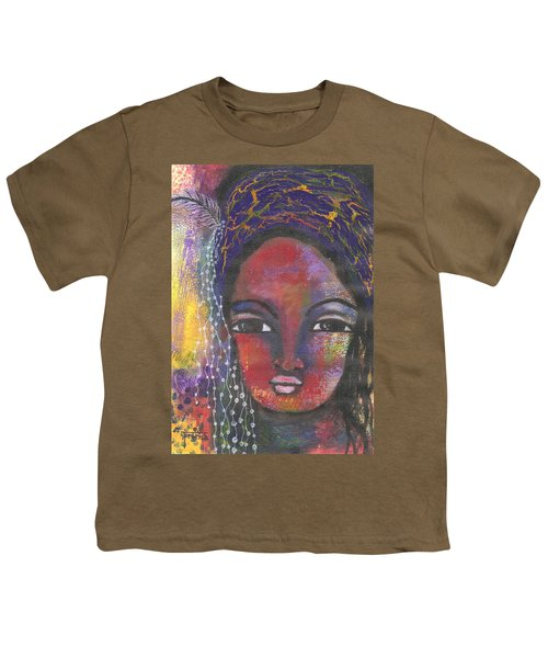 Youth T-Shirt featuring the mixed media Feather In My Cap by Prerna Poojara
