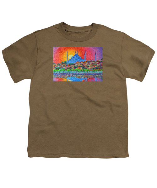 Fiery Sunset Over Blue Mosque Hagia Sophia In Istanbul Turkey Youth T-Shirt