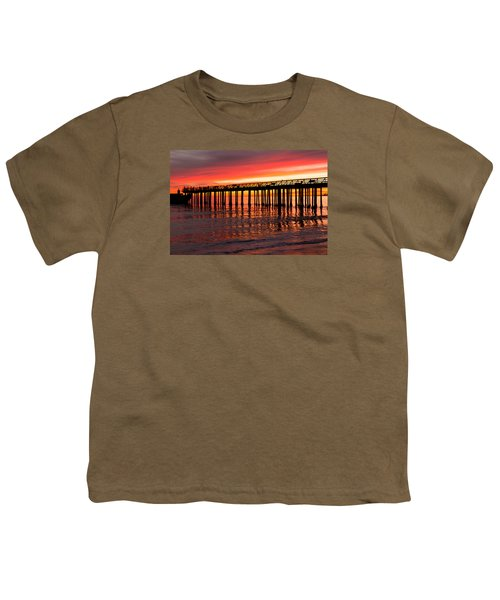 Youth T-Shirt featuring the photograph Fire In The Sky by Lora Lee Chapman