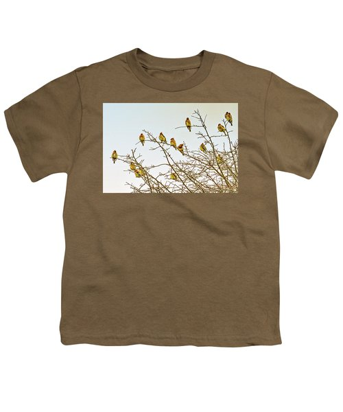 Flock Of Cedar Waxwings  Youth T-Shirt by Geraldine Scull