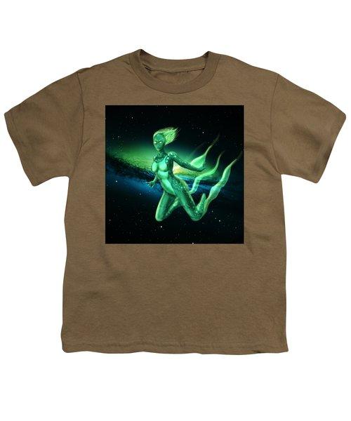 Galaxy Mermaid Youth T-Shirt by Rene Lopez