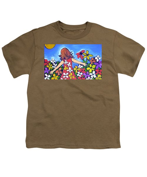 Youth T-Shirt featuring the painting Garden Of Joy by Winsome Gunning