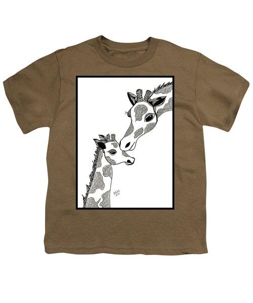 Giraffe Mom And Baby Youth T-Shirt
