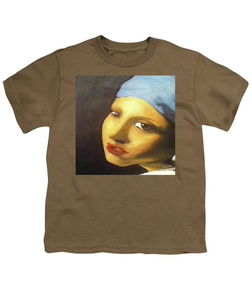 Youth T-Shirt featuring the painting Girl With Pearl Earring Face by Jayvon Thomas
