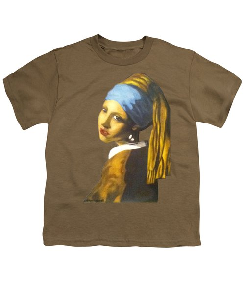 Youth T-Shirt featuring the painting Girl With The Pearl Earring No Background by Jayvon Thomas