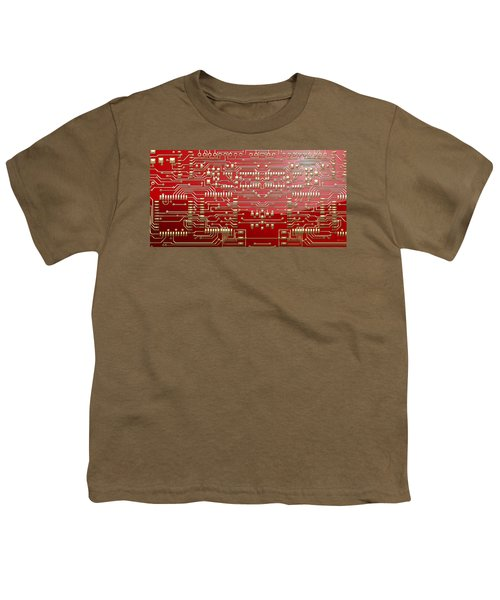 Gold Circuitry On Red Youth T-Shirt by Serge Averbukh