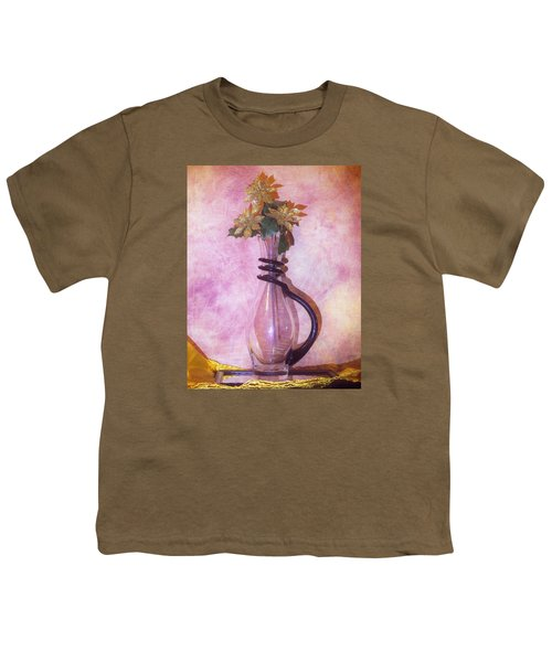 Gold On Pink Flowers Youth T-Shirt