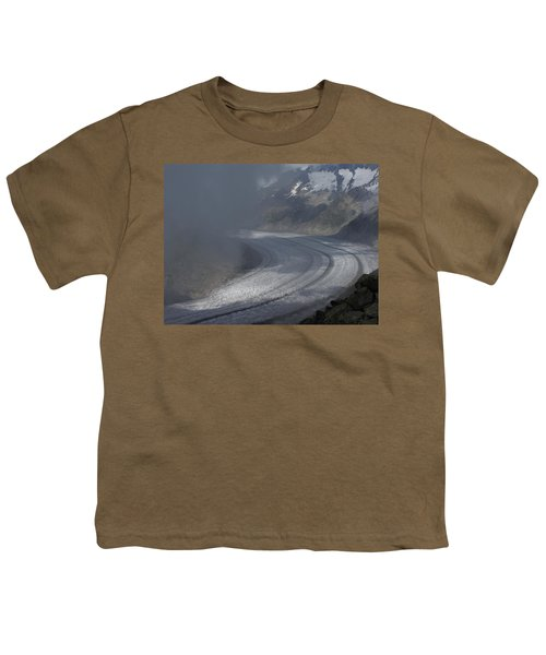 Great Aletsch Glacier In The Clouds. Canton Of Valais, Switzerland. Youth T-Shirt