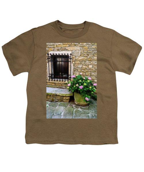 Groznjan Istrian Hill Town Stonework And Flowerpot - Istria, Croatia Youth T-Shirt