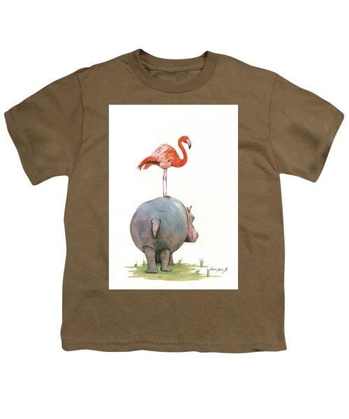 Hippo With Flamingo Youth T-Shirt