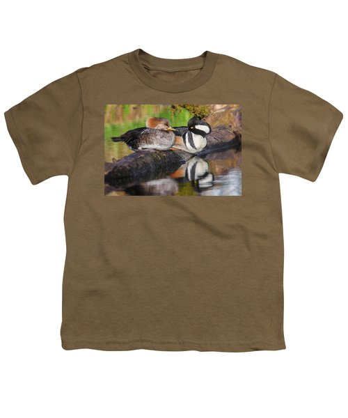 Hooded Merganser Pair Youth T-Shirt