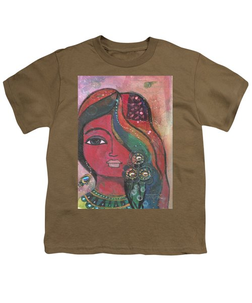 Youth T-Shirt featuring the mixed media Indian Woman With Flowers  by Prerna Poojara