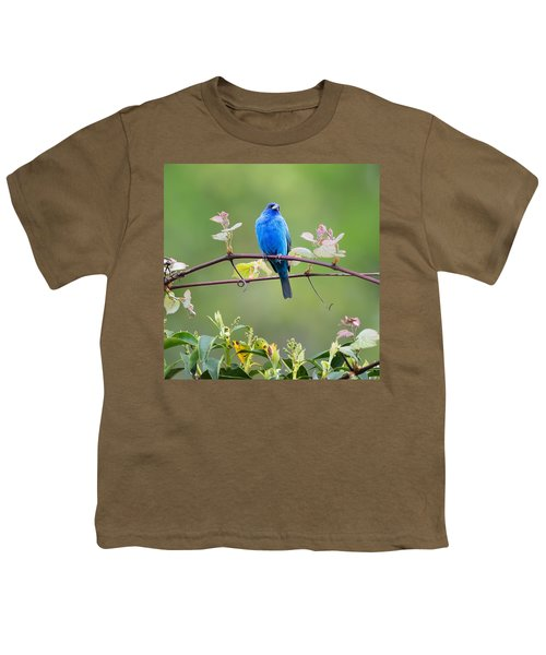 Indigo Bunting Perched Square Youth T-Shirt by Bill Wakeley