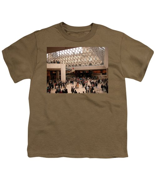 Youth T-Shirt featuring the photograph Inside Louvre Museum Pyramid by Mark Czerniec