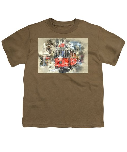 Istanbul Turkey Red Trolley Digital Watercolor On Photograph Youth T-Shirt