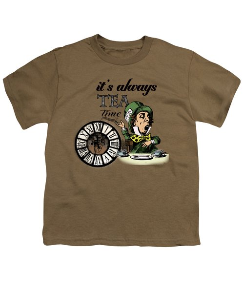 It's Always Tea Time Mad Hatter Dictionary Art Youth T-Shirt by Jacob Kuch