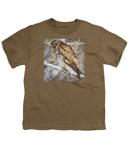 Youth T-Shirt featuring the photograph Juvenile Red-shouldered Hawk  by Ricky L Jones