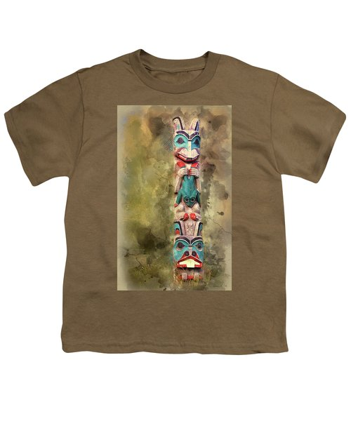 Ketchikan Alaska Totem Pole Youth T-Shirt by Bellesouth Studio