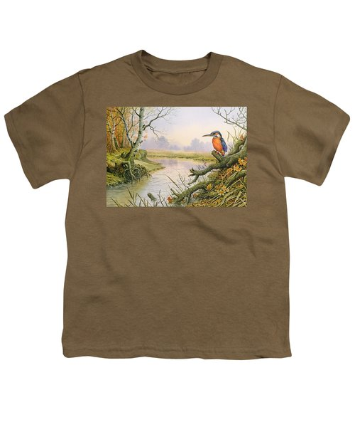 Kingfisher  Autumn River Scene Youth T-Shirt