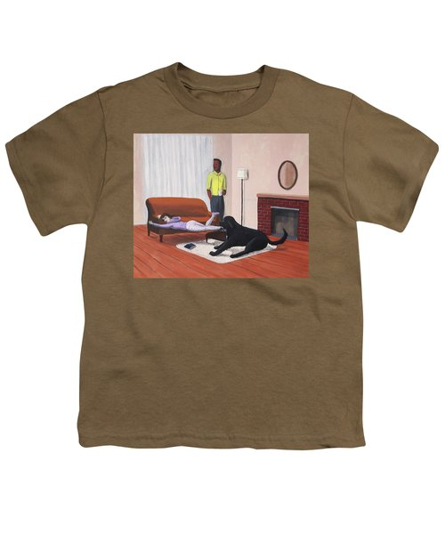 Lady Pulling Mommy Off The Couch Youth T-Shirt