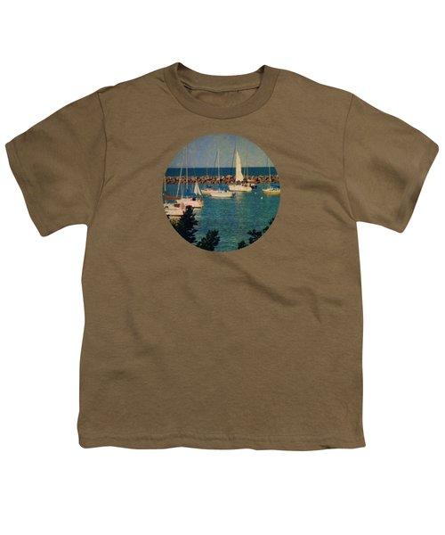 Lake Michigan Sailboats Youth T-Shirt by Mary Wolf